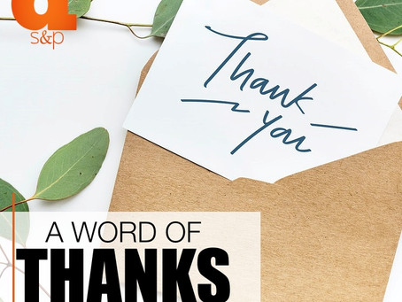 A Word Of Thanks To Our Clients