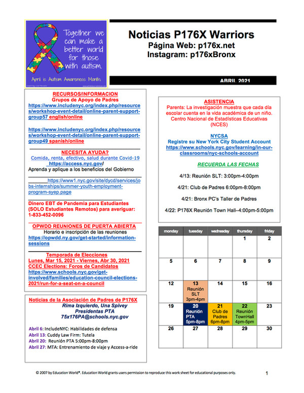 Spanish version of the April 2021 calendar newsletter