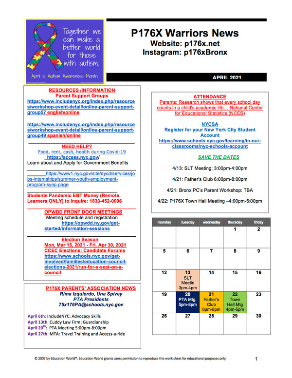 April 2021 calendar newsletter