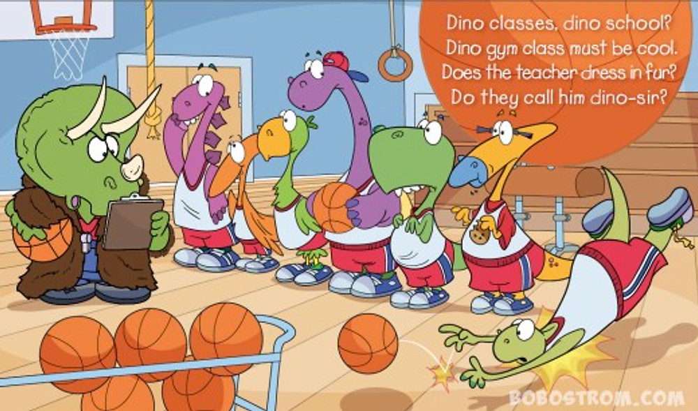 dinosaur, cartoon, gym, childrens book illustration, ostrom