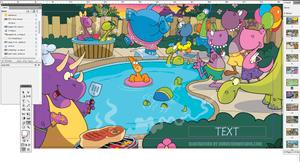 dinosaur pool party illustration by Bob Ostrom
