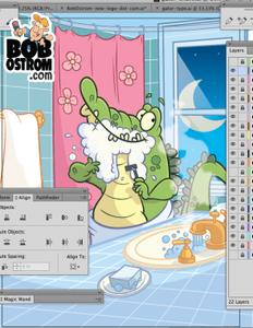 illustration of cartoon alligator by Bob Ostrom