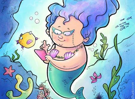 Mrs. Mermaid and the new phone.