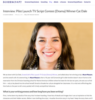 ScreenCraft Interview: Pilot Launch TV Script Contest (Drama) Winner Cat Dale