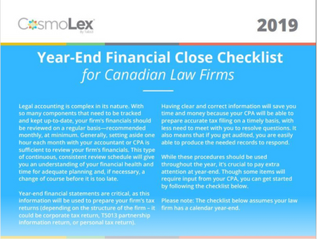 2019 Year-End Financial Close Toolkit for Canadian Law Firms