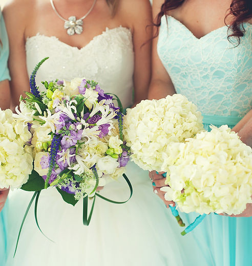 Brides, bridesmaids, bouquet