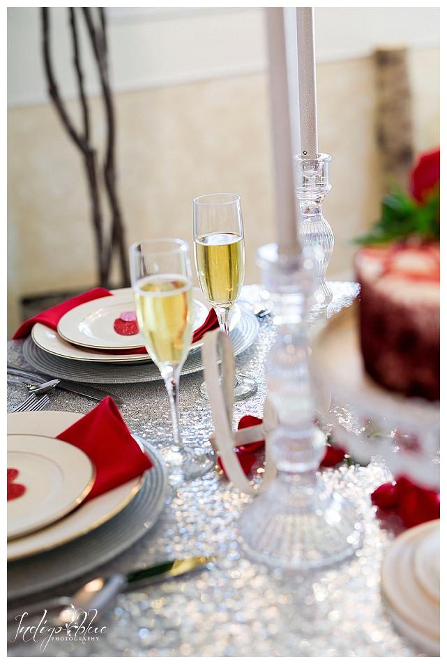 Valentine's engagement champagne glasses