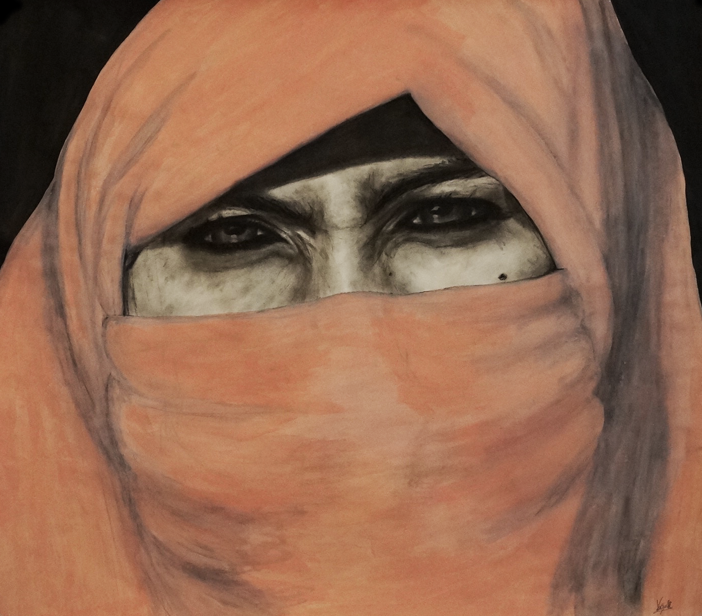 Woman in a Coral Scarf