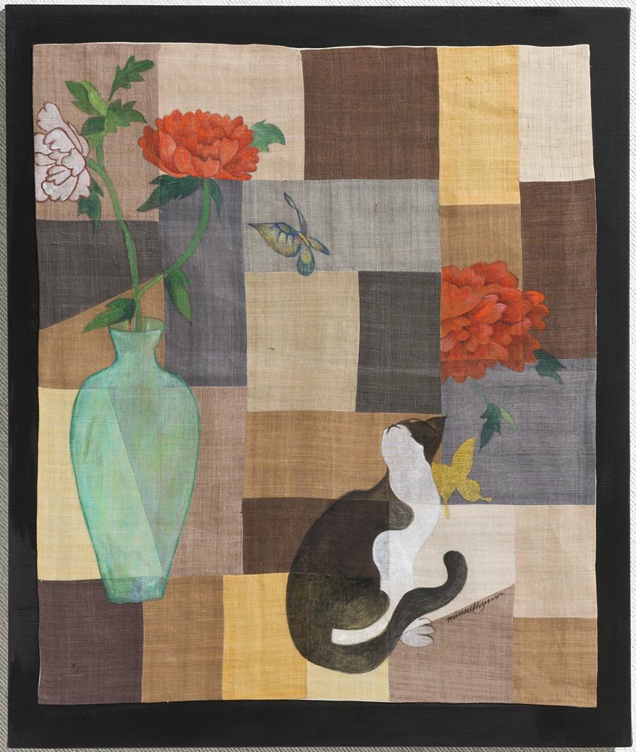 Image of Korea 60x72.7cm Ramie fabric bojagi on painting. 2010
