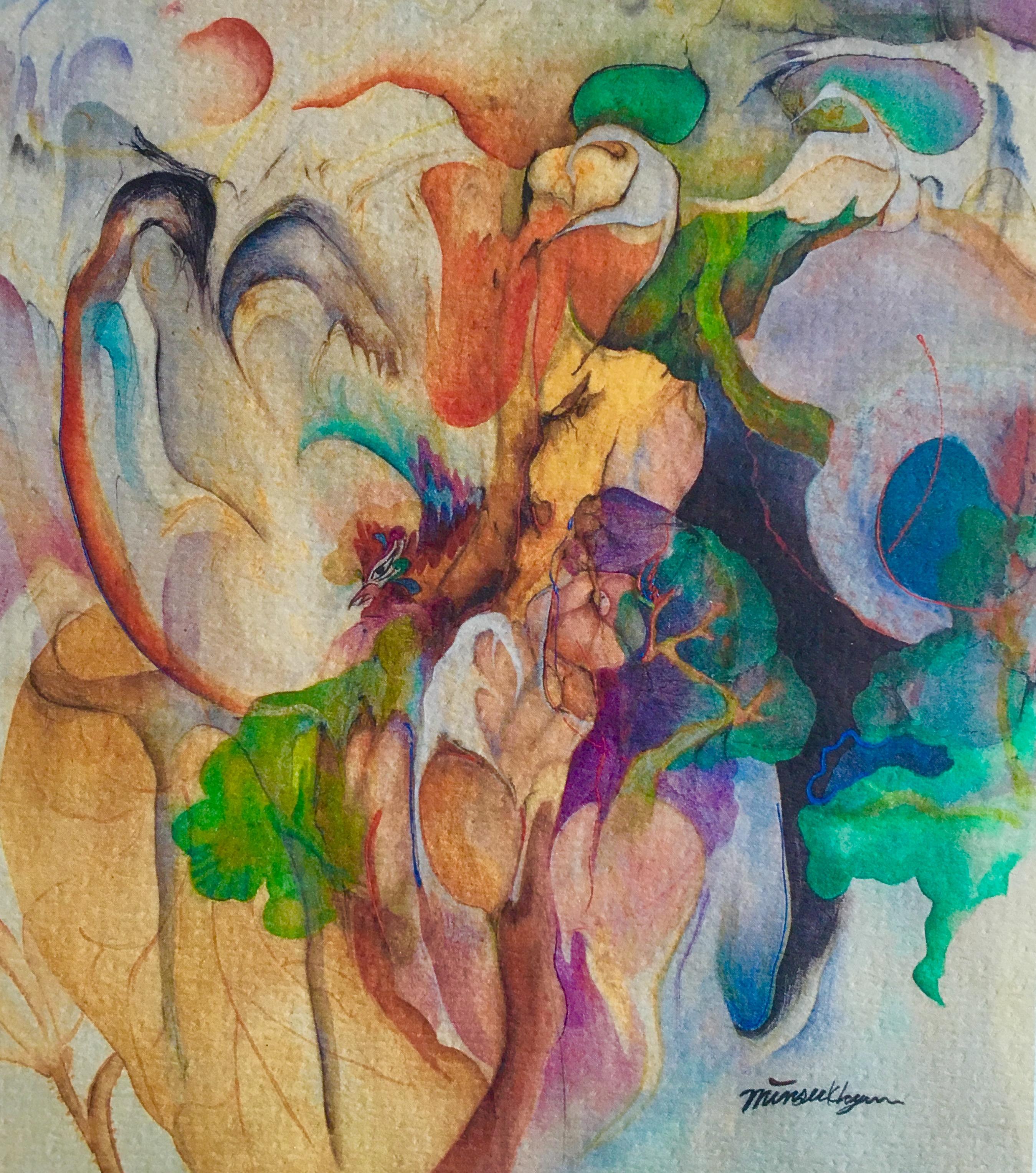 tree story  53x47cm korean ink on silk._2002