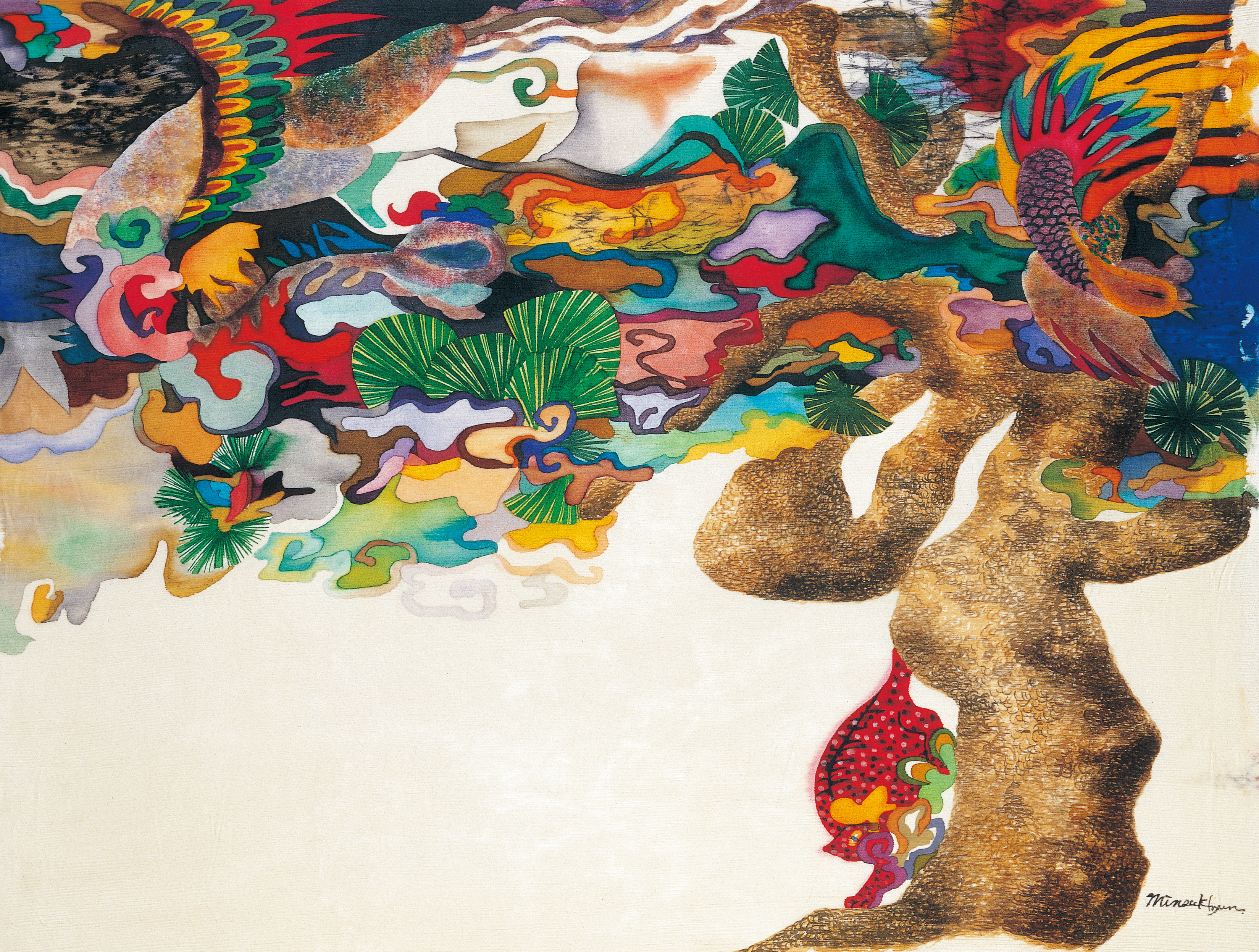 A story of pinetree. 80x64cm korean ink on silk._1999 - 복사본 - 복사본
