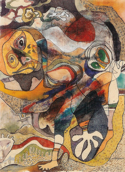 A masked dance 65x85cm koreanpaper, silk-1999
