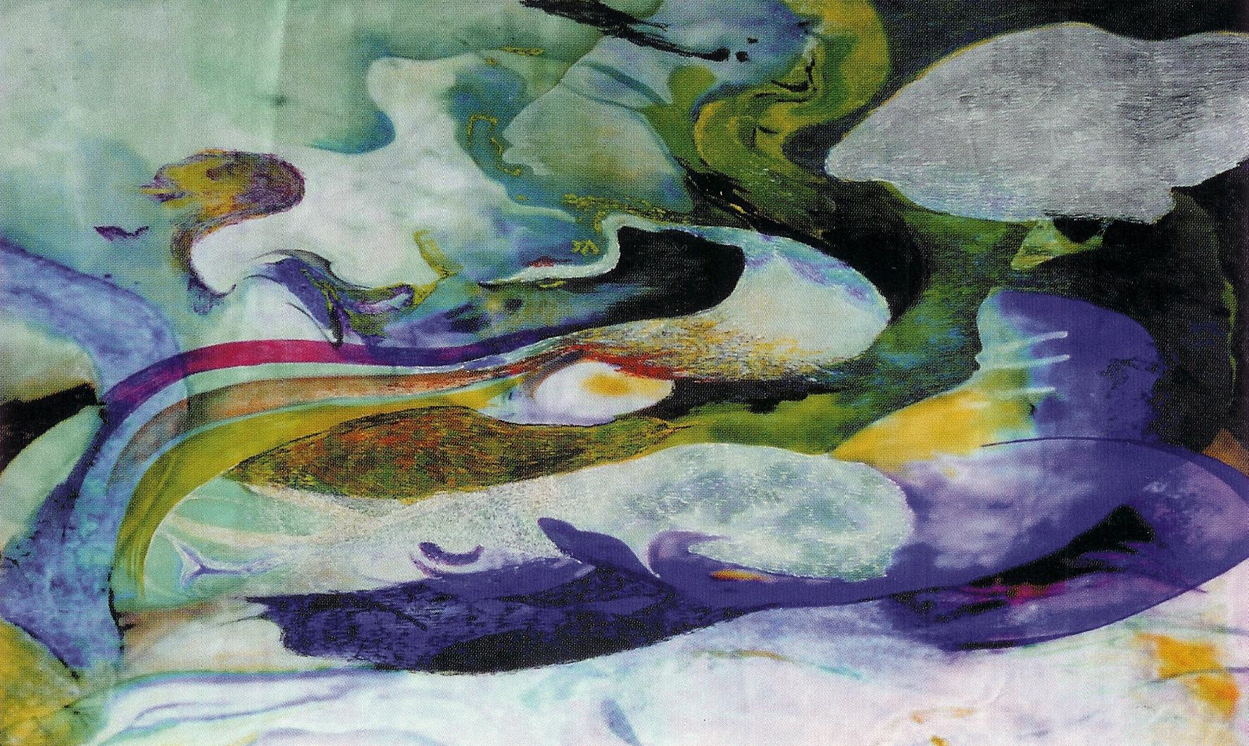 In Cloud 54x86cm korean ink on silk._2002
