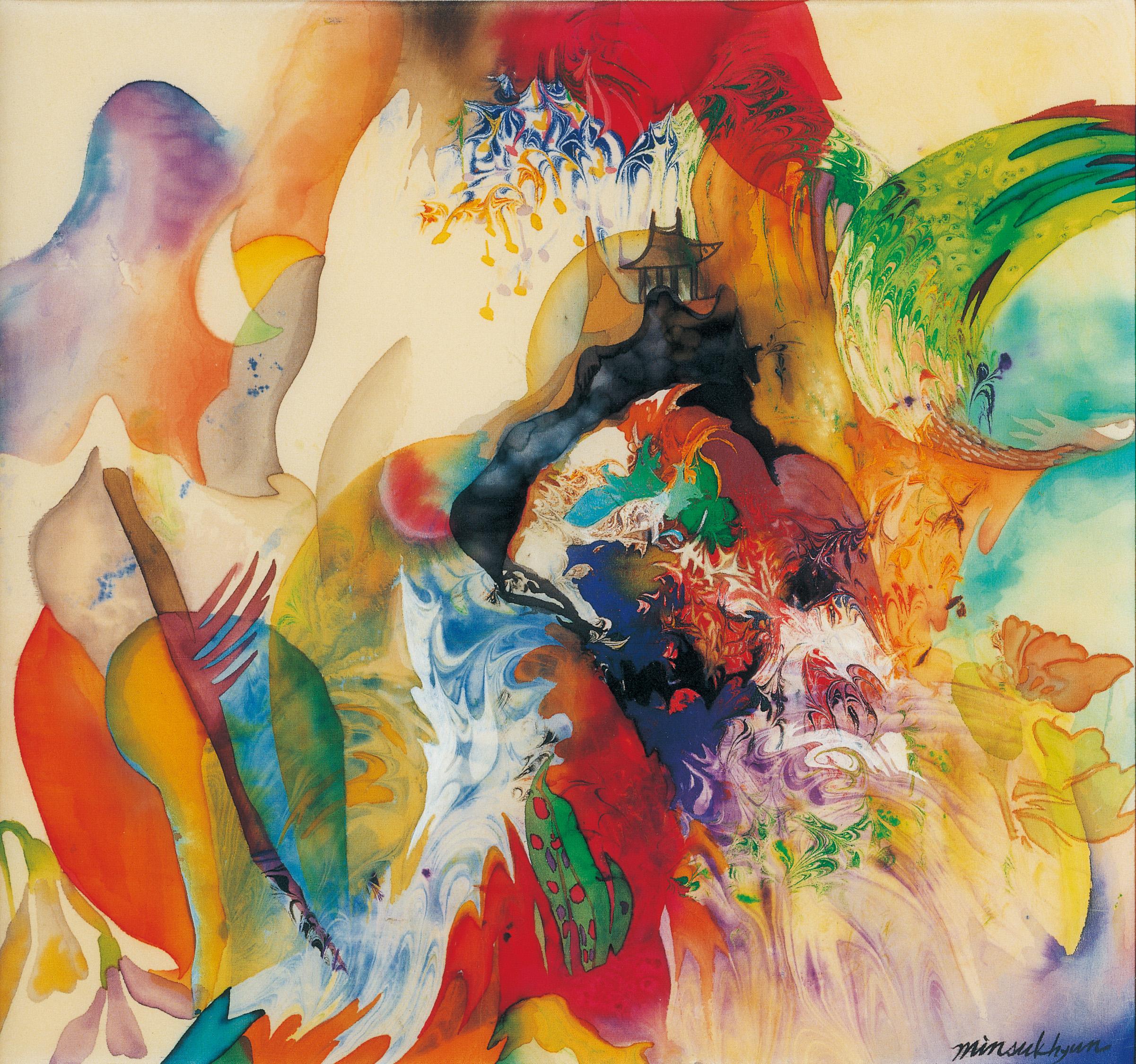 내가 사랑하는 그곳 (the favorite place of my family) 90x90cm.painting on silk_2000