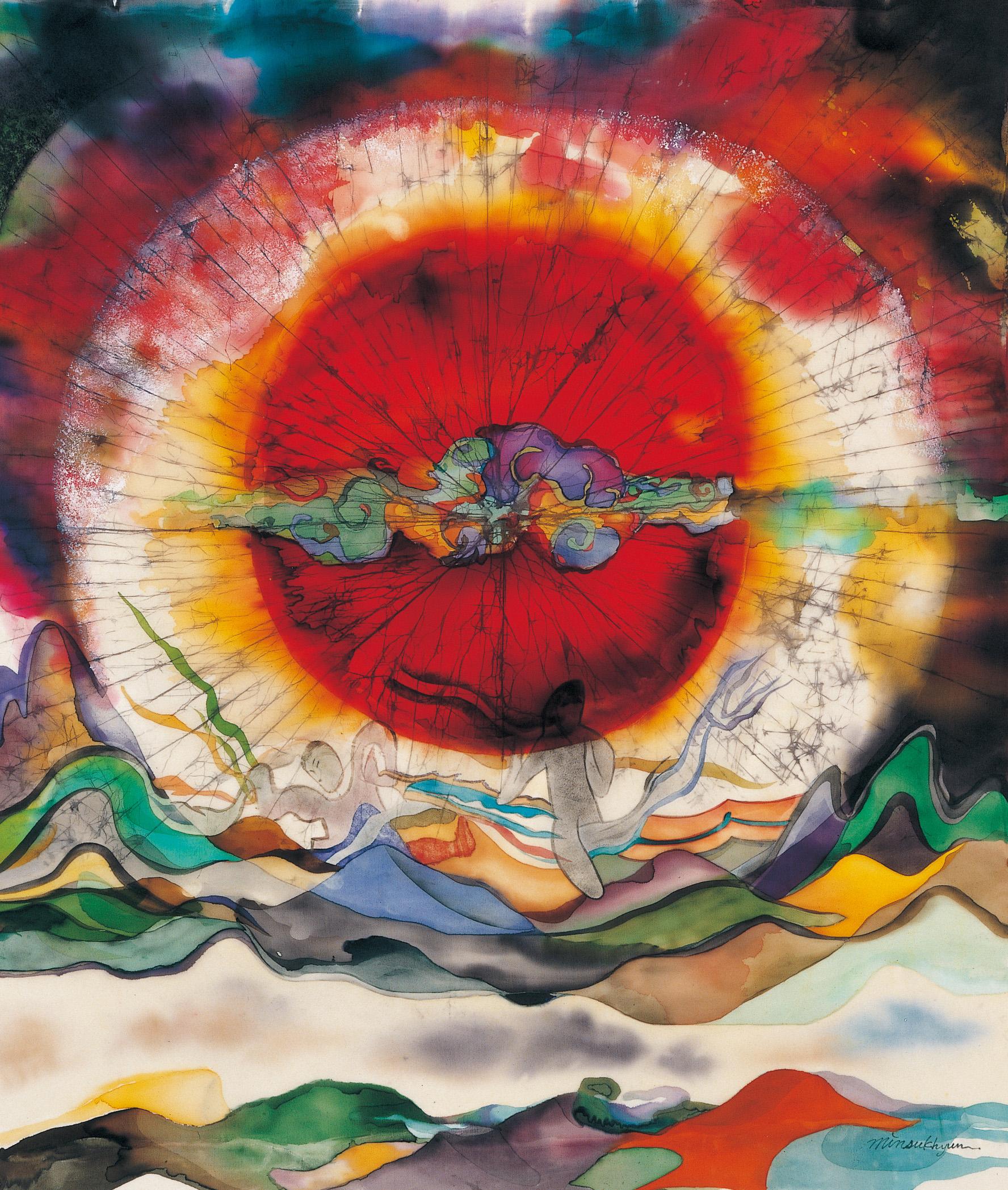 Sunrise  116x89cm korean ink on silk._1999