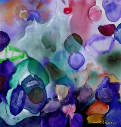 Blue pond   40x40  painting on silk_2003