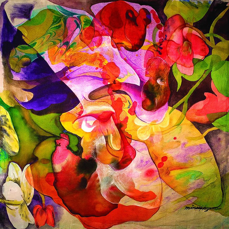 My heart throbbing (Love) 50x50cm koreanink on silk 2000
