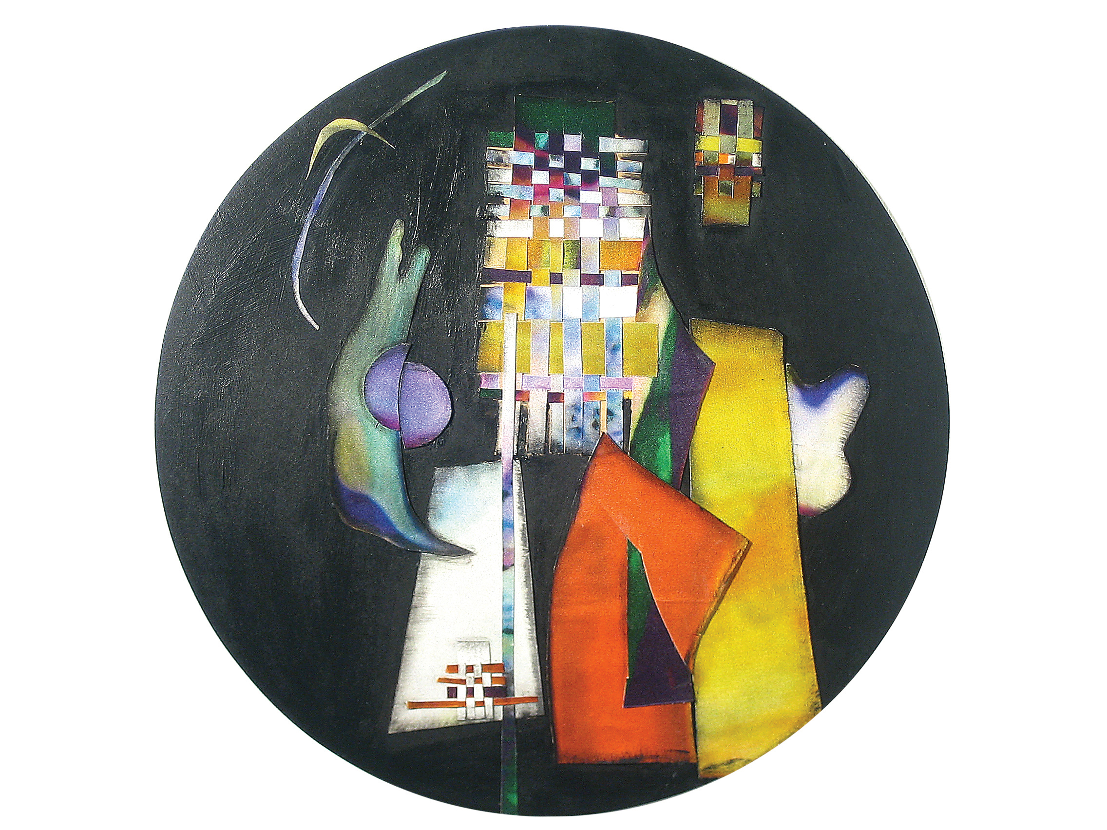 A church in the city, 지름25cm objet on wood._2006