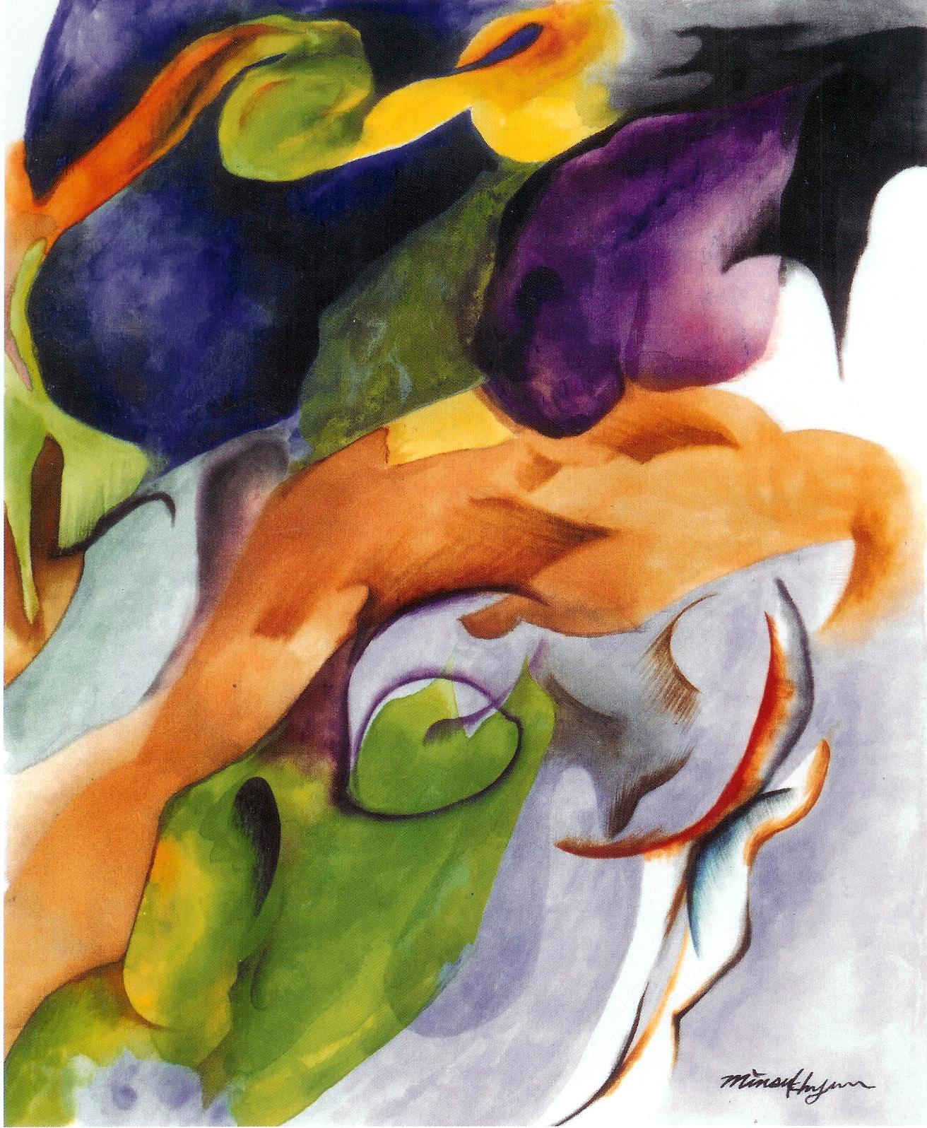 Resurrestion.54x65cm korean ink on silk._2003