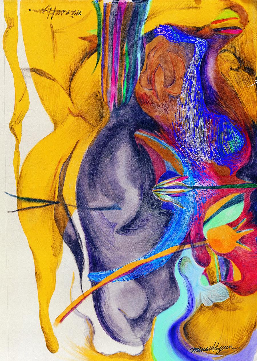 My heart pounding (A changeable mind)가슴이 뛴다.(흔들리는 마음) 80x65cm. koreanink on silk_2003