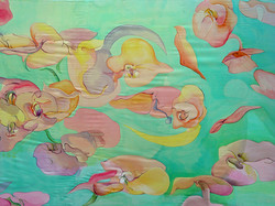 Fluttering flowers.180x100  painting on silk_2004