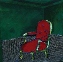 붉은의자 A red chair 25x25cm.acrylic on canvas_2014