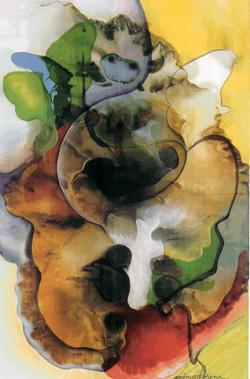 An Inspiring dream   60x45cm. korean paints on silk_ 2004