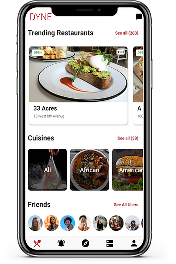 The Dyne app showing off its features like trending restaurants, search features, social features, and coupons