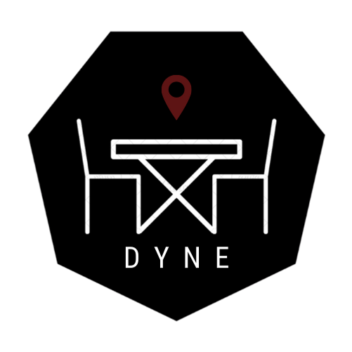A black, white, and red logo for the meetup app Dyne