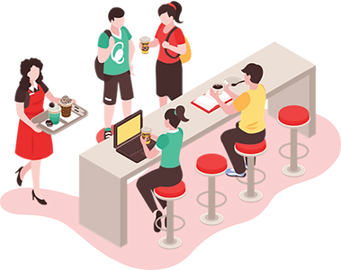 Dyne users meeting up at a restaurant