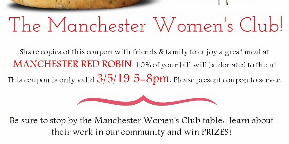 Red Robin Fundraiser - 10% Discount Valid 3/5/19 5 - 8pm - Manchester