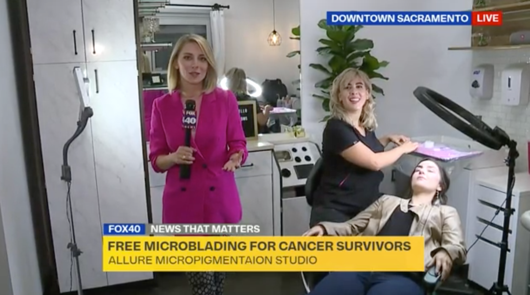 Olivia is at Allure House Of Permanent Esthetics in Sacramento, CA talking with microblading artist Jasmine about how the salon is offering free microblading to cancer survivors during Breast Cancer Awarness Month.