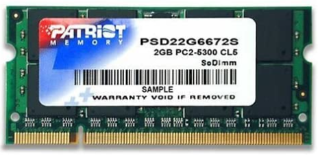 PATRIOT PSD22G6672S Signature PC2 – 5300 DDR2 667 MHz 2 GB SODIMM