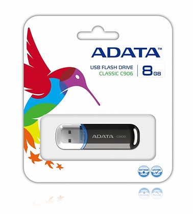 MEMORIA USB A-DATA 8GB, C906, AC906-8G-RBK, NEGRO