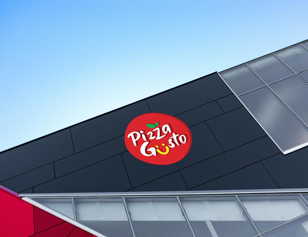Pizzagusto - Insegna logo palazzo