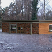 Visitor centre with background