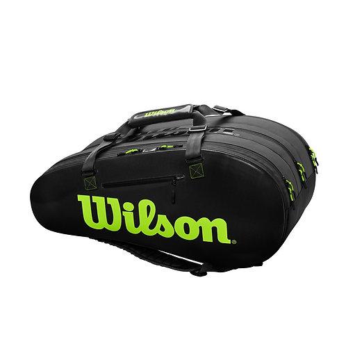 Wilson Super Tour 3 Comp 15-Pack Bag (Black/Green)