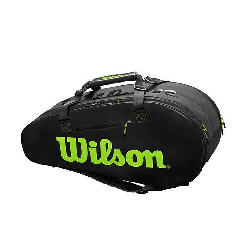 Wilson Super Tour 2 Comp 9-Pack Bag (Black/Green)