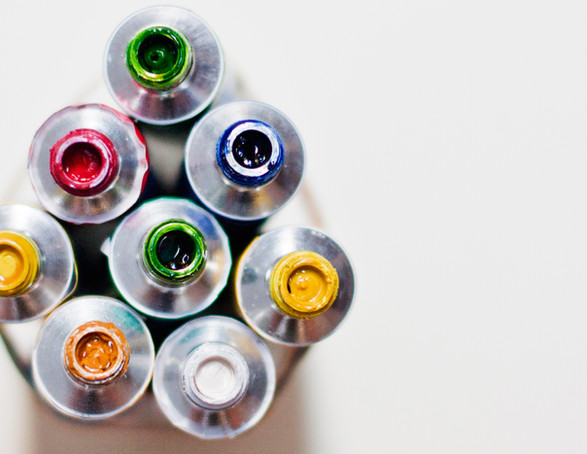 Watercololur paint tubes