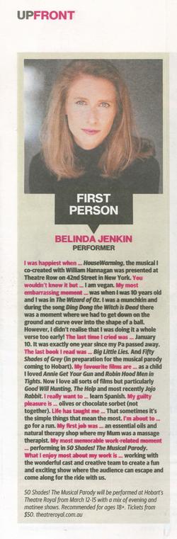 Belinda Jenkin Tas Weekend Q & A 2020