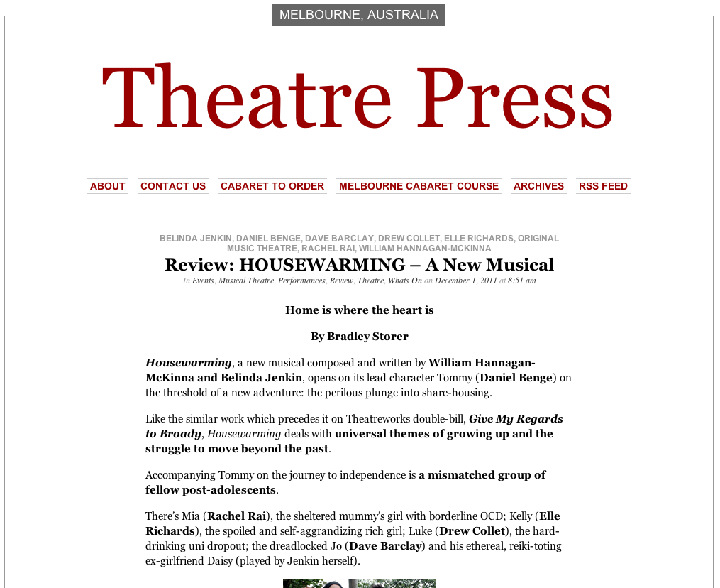 "Theatre Press review ""HouseWarming"""