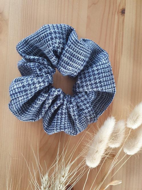 Silk and Linen Blue Check Scrunchie
