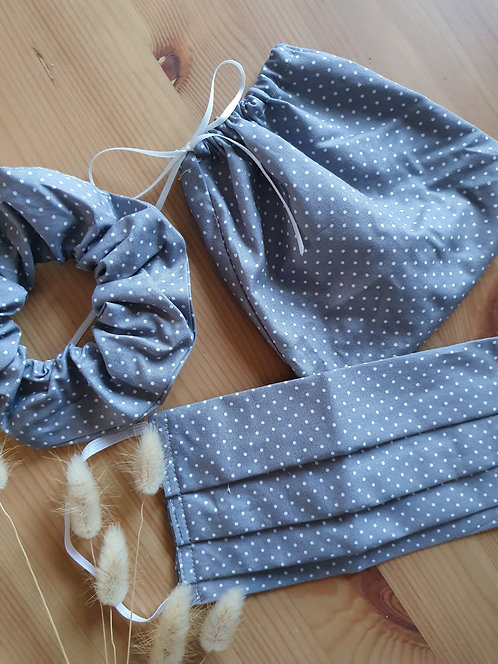 Grey Dot Scrunchie and Mask Set