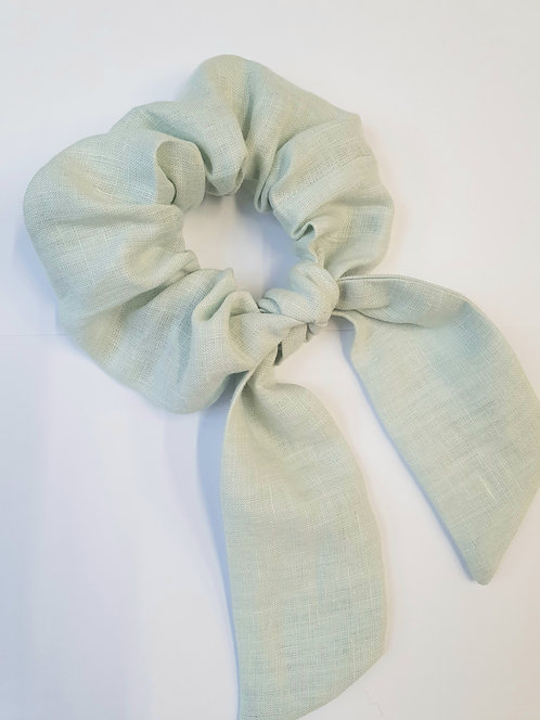Mint Deadstock Linen Scrunchie with Bow