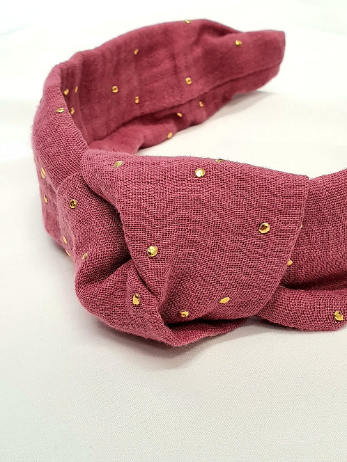 Gold Dot Strawberry Knot Headband
