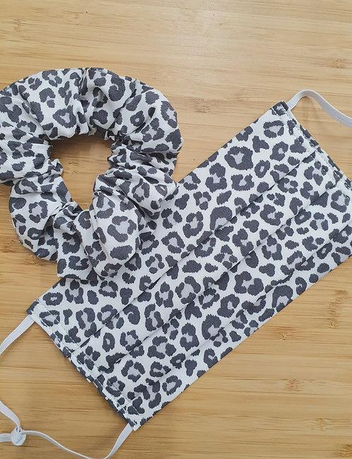 Grey Leopard Print Scrunchie and Mask set