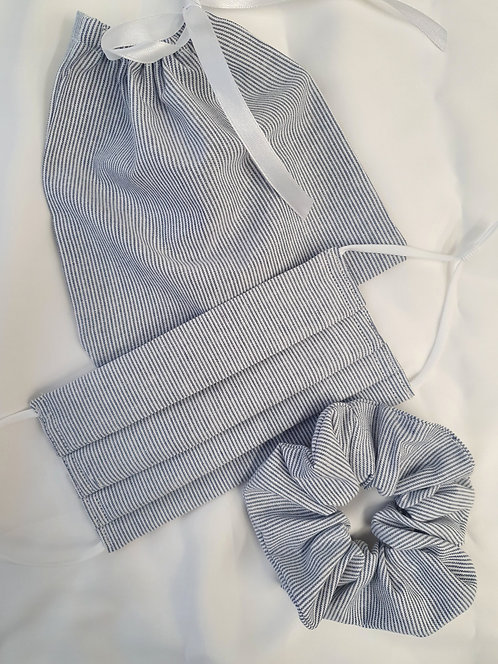 Blue and White Stripe Cotton Mask and Scrunchie Set