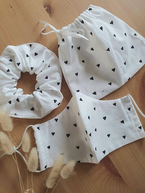 Heart Polka Dot Scrunchie and Mask set