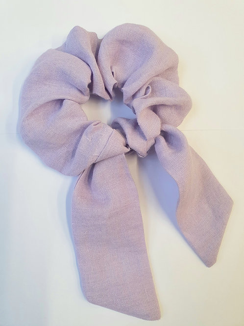 Lilac Deadstock Linen Scrunchie with Bow