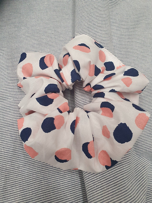 Double Dot Pink and Navy Cotton Scrunchie